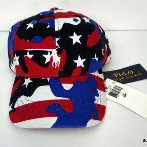 Polo Ralph Lauren Camo Hat Red White Blue $50 OSFA